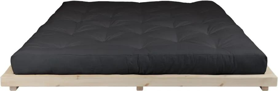 Pat dublu din lemn de pin cu saltea Karup Design Dock Comfort Mat Natural/Black, 160 x 200 cm