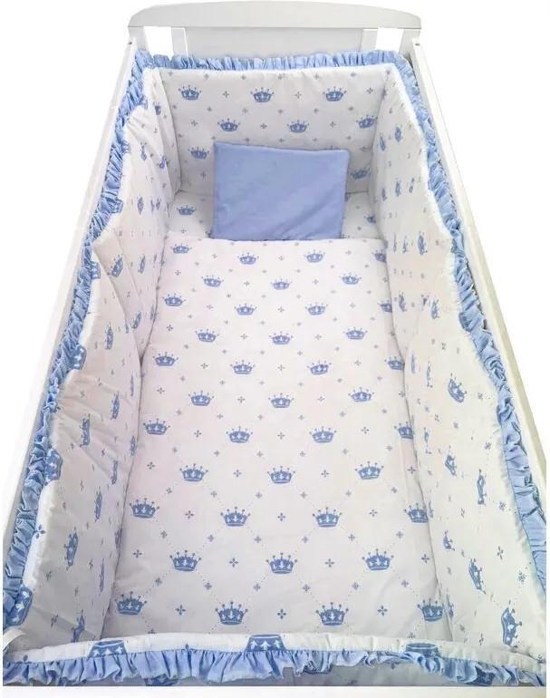 Deseda - Lenjerie de pat bebelusi cu aparatori laterale pufoase  Coronite albastre