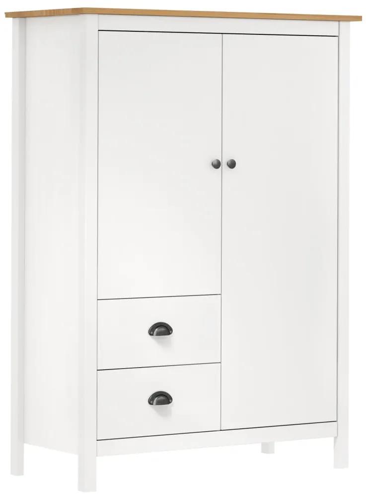288958 vidaXL Șifonier cu 2 uși Hill Range, alb, 99x45x137 cm, lemn masiv pin