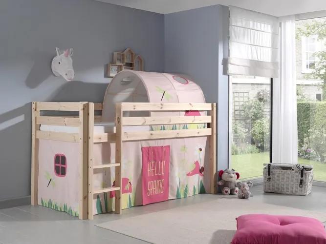 Pat etajat din lemn de pin, cu tunel si spatiu de joaca pentru copii Pino Spring Natural, 200 x 90 cm