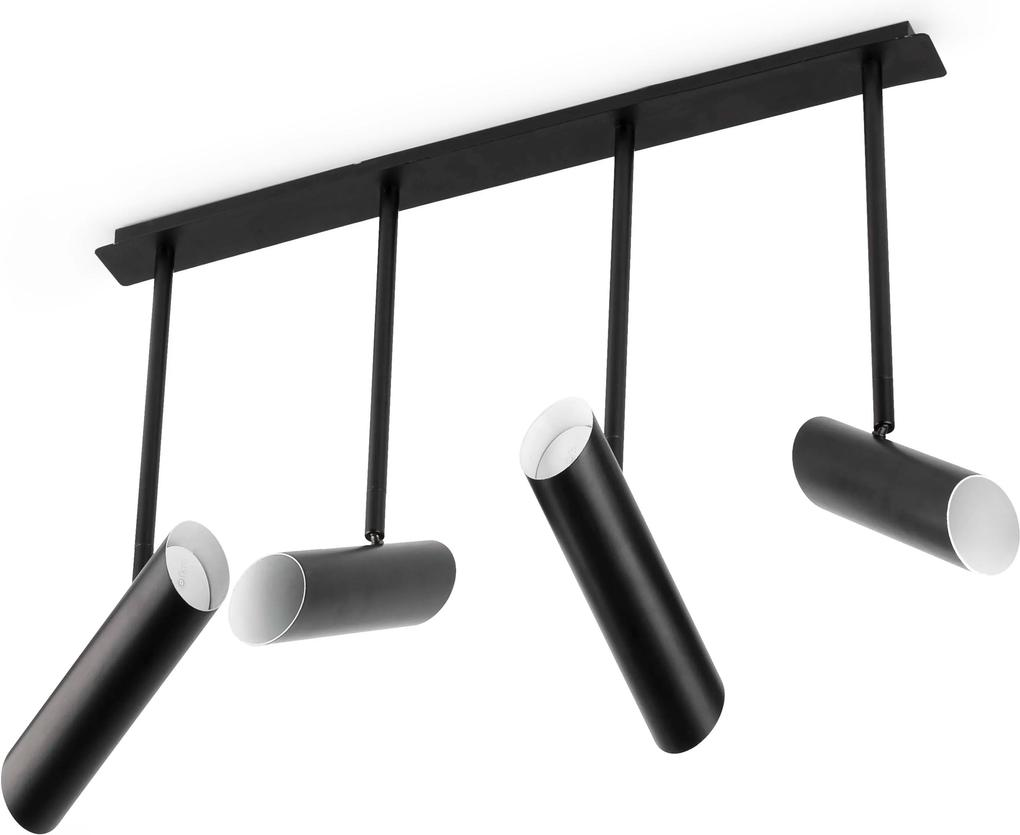 LINK 4xGU10 - Plafonieră neagră ajustabilă din oțel cu 4 surse de lumină