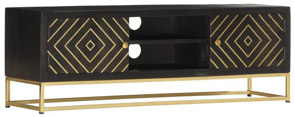 286514 vidaXL Comodă TV, negru & auriu,120 x 30 x 40 cm, lemn masiv de mango