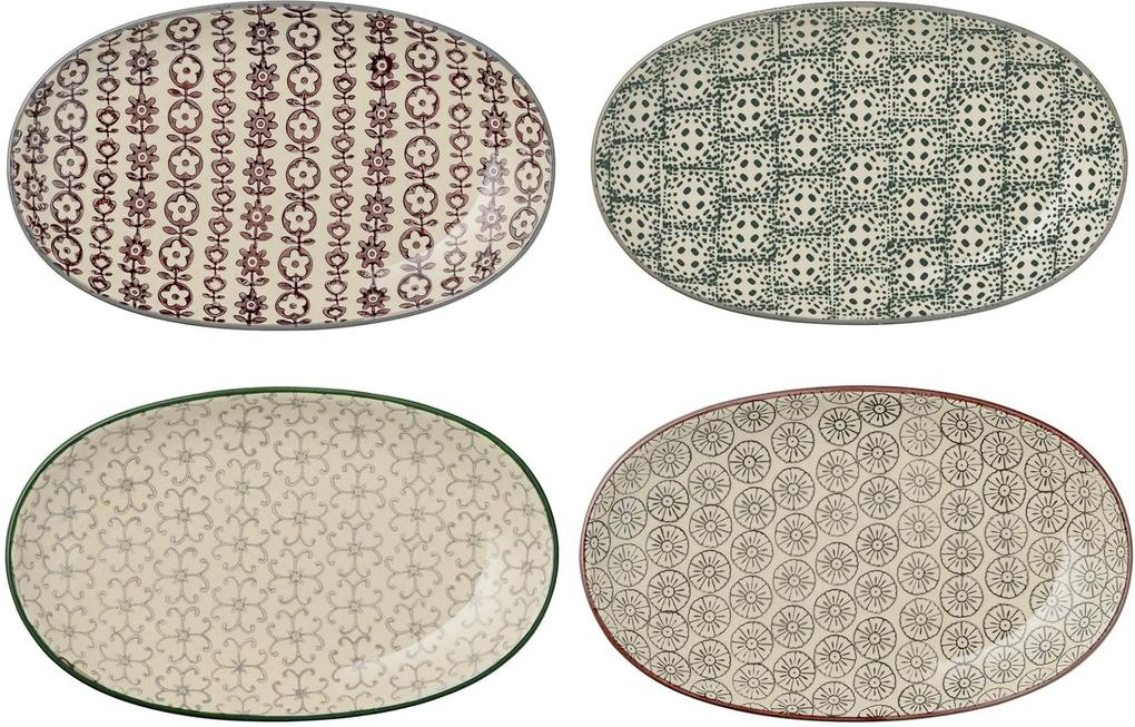 Set 4 Farfurii Karine, Multicolor, Ceramica 21.5x13 cm