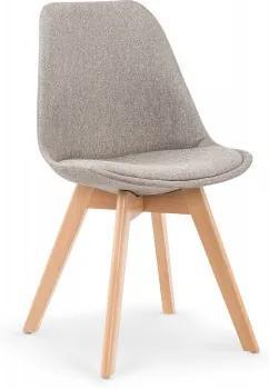 Scaun tapitat cu stofa, cu picioare din lemn K303 Light Grey, l48xA54xH83 cm