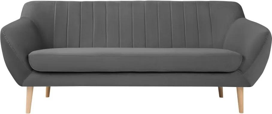 Canapea cu tapițerie din catifea Mazzini Sofas Sardaigne, 188 cm, gri