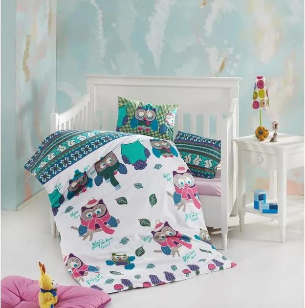 Lenjerie de pat din bumbac pentru copii Owly, 100 x 150 cm