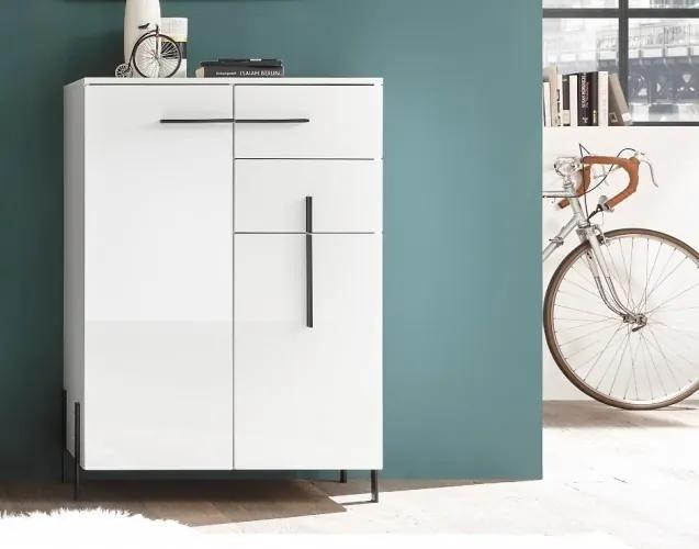 Cabinet din pal si MDF, cu 2 usi si 2 sertare Nysa Alb, l80xA40xH115 cm
