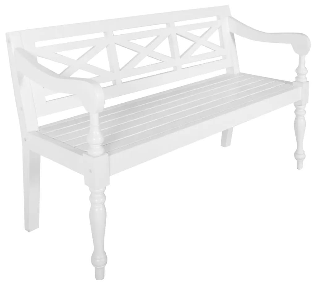 246969 vidaXL Bancă Batavia, alb, 136 cm, lemn masiv mahon