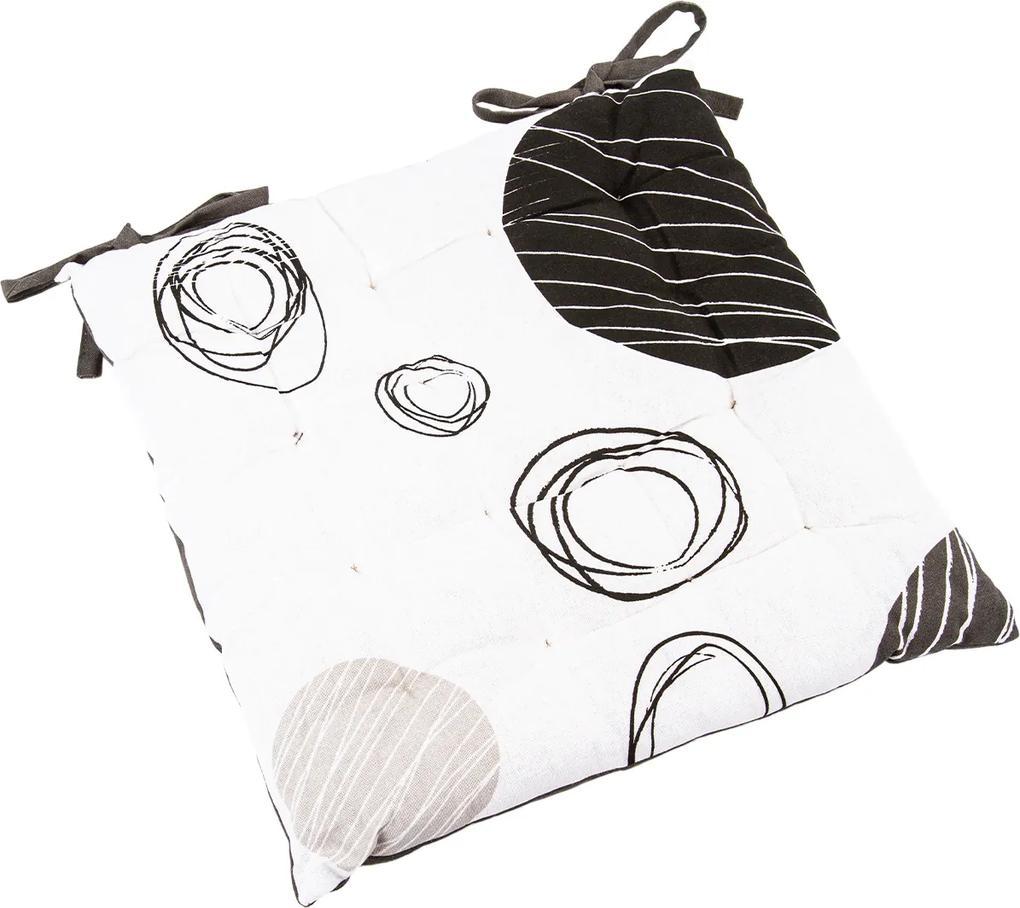 Pernă scaun brodată Cercuri, 40 x 40 cm