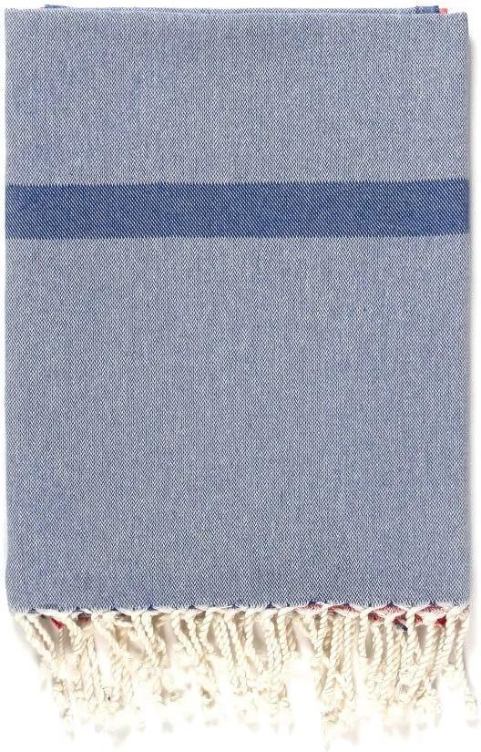 Prosop de plajă Kate Louise Cotton Collection Line, 100 x 180 cm, albastru-gri-roz