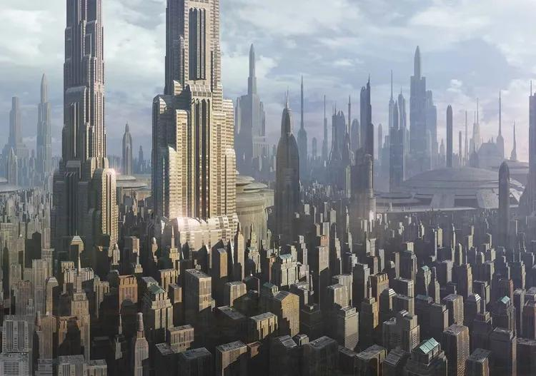 Star Wars City Coruscant Fototapet, (211 x 90 cm)