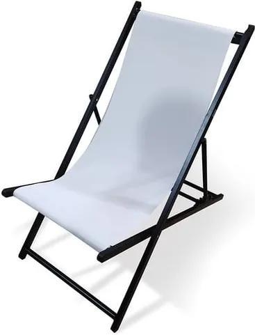 Șezlong pliabil de grădină Le Bonom Deck, lungime 106 cm, alb