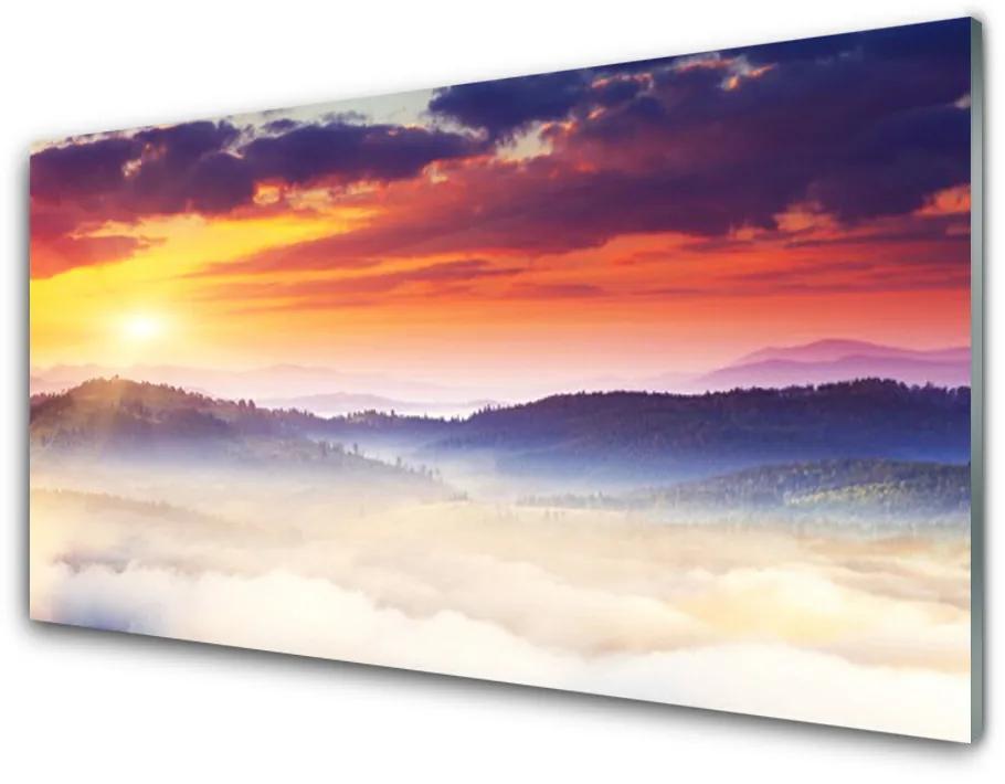 Tablou pe sticla Munte Soare Peisaj Galben Violet Alb