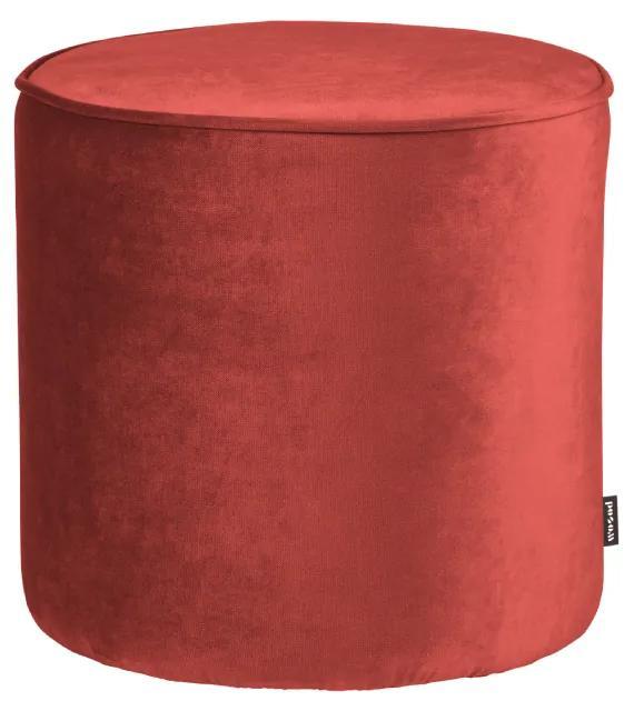 Puf din catifea rosie Sara Round Pouf High Velvet Raspberry