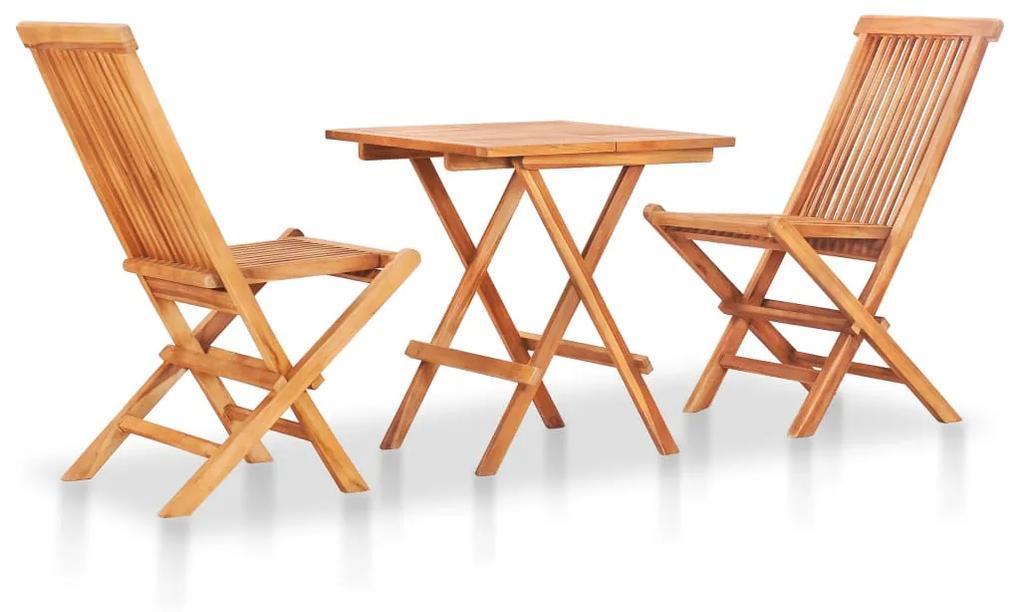 48997 vidaXL Set mobilier de bistro pliabil, 3 piese, lemn masiv de tec
