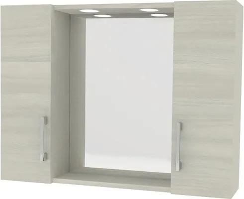 Dulapior cu oglinda, polita si iluminare dubla LED, 77x57 cm, rovere grigio, IP 44