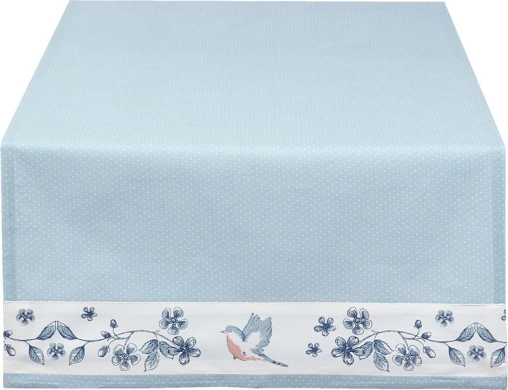 Fata de masa bumbac albastru Bird 50*140 cm