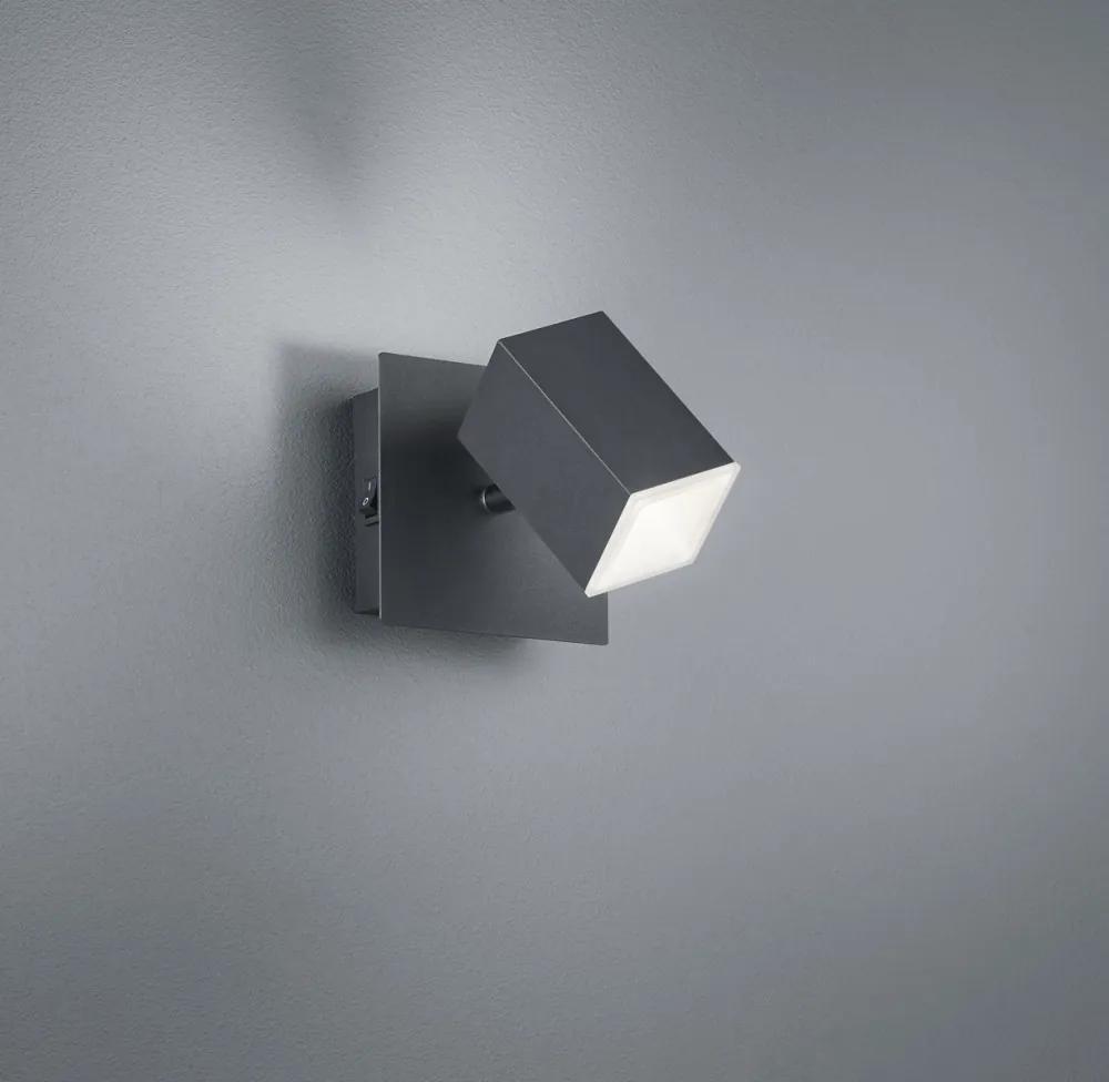 Trio 827890132 Aplice perete cu intrerupator LAGOS negru mat metal incl. 1 x SMD, 8W, 3000K, 730Lm 730lm IP20 A+