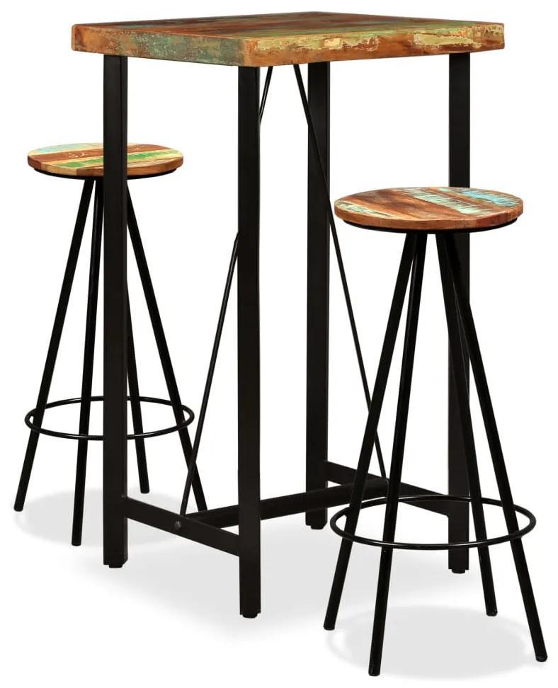 275140 vidaXL Set mobilier de bar, 3 piese, lemn masiv reciclat
