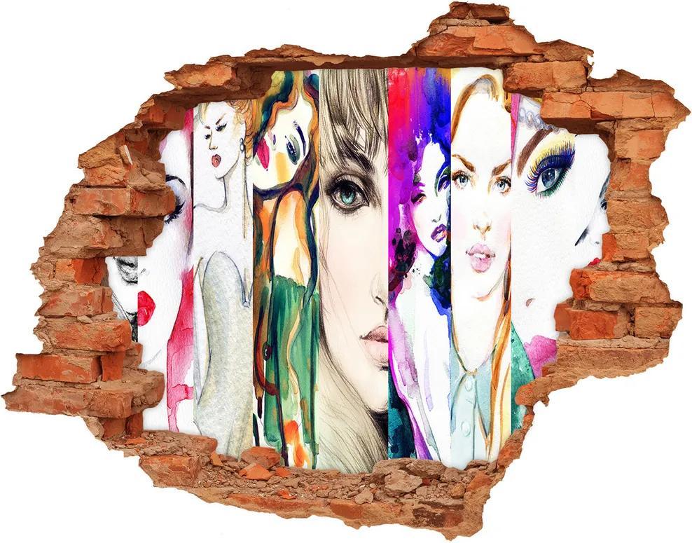 Autocolant de perete gaură 3D Portrete de femei