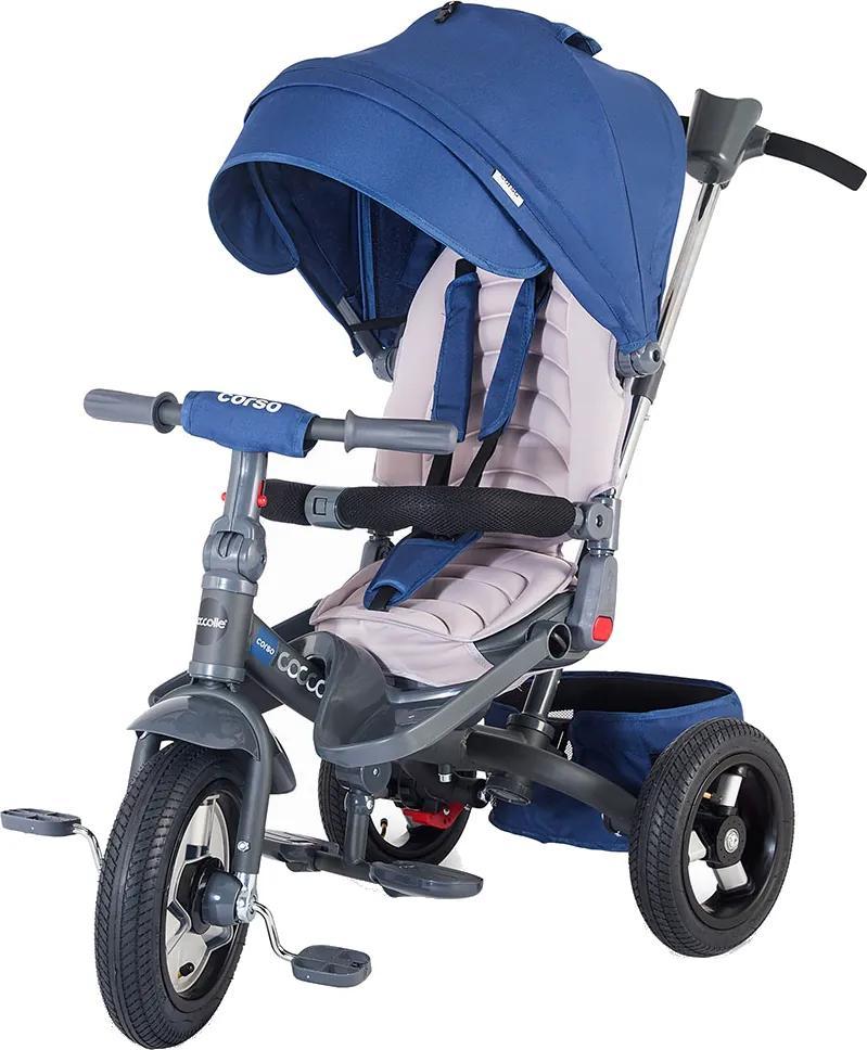 Tricicleta multifunctionala cu roti gonflabile Coccolle Corso Albastru