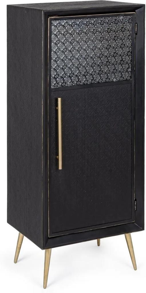 Comoda 1 usa din mdf negru cu patina aurie Ebony 48 cm x 35 cm x 118 h