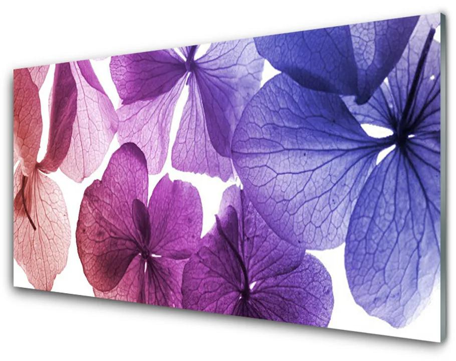 Tablou pe sticla acrilica Flori Floral Roz Violet