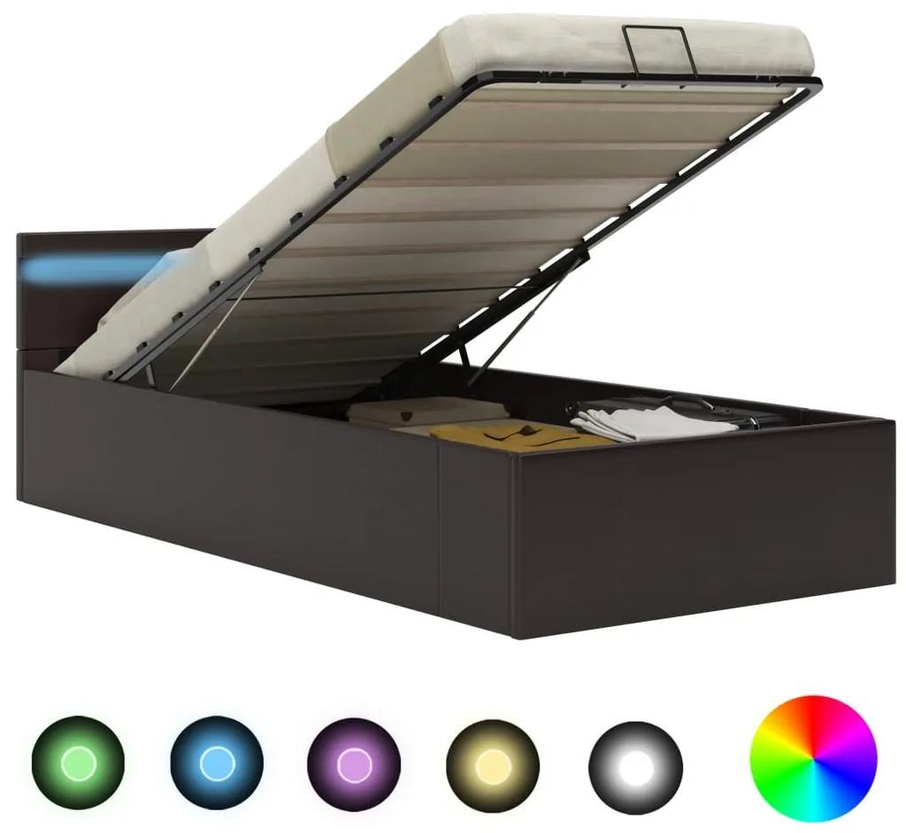 285552 vidaXL Cadru pat hidraulic cu ladă LED gri 90x200 cm piele ecologică