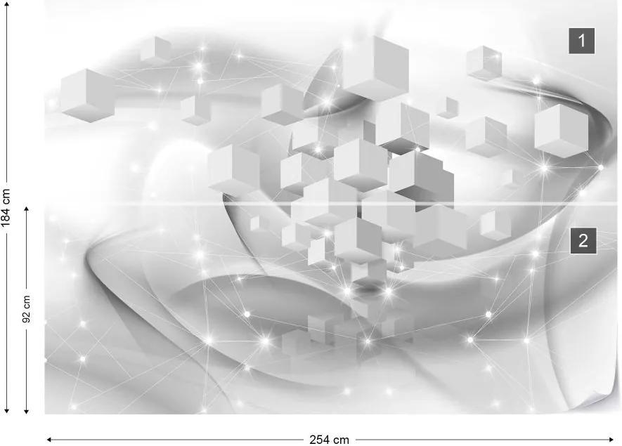 Fototapet GLIX - 3D Cubes Sparkles + adeziv GRATUIT Papírová tapeta  - 254x184 cm