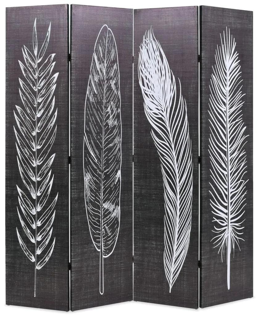245890 vidaXL Paravan cameră pliabil, negru&alb, 160 x 170 cm, imprimeu pene