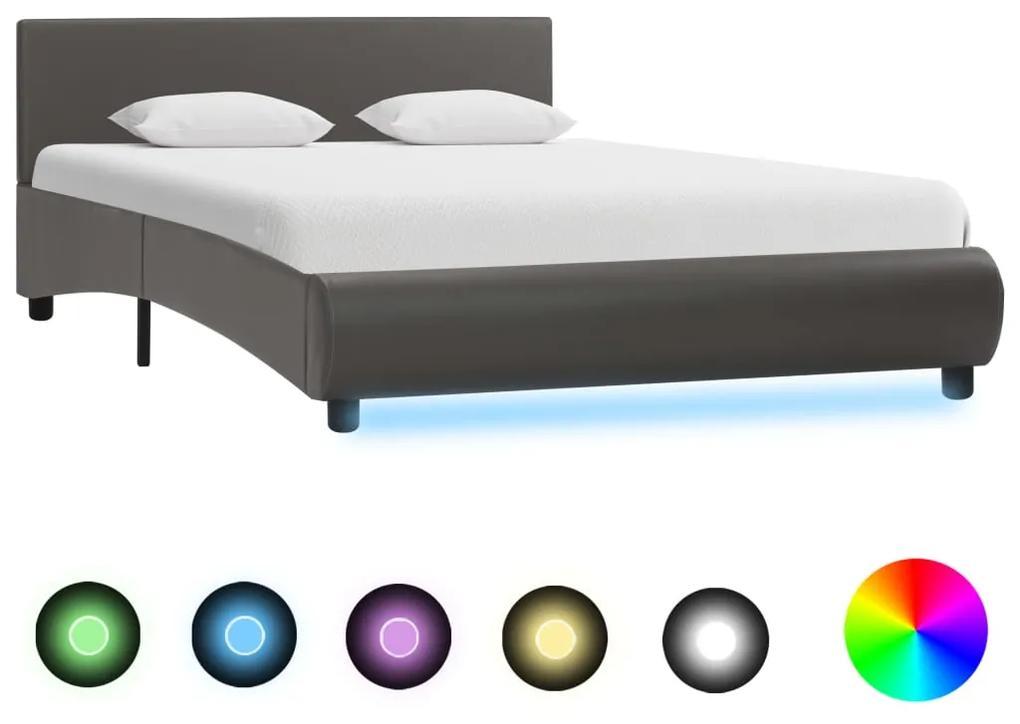 285495 vidaXL Cadru de pat cu LED, gri, 140 x 200 cm, piele ecologică