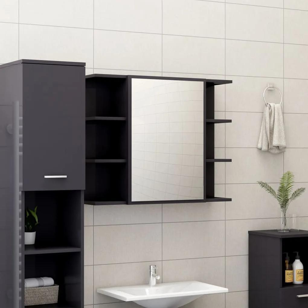 802614 vidaXL Dulap de baie cu oglindă, gri extralucios, 80x20,5x64 cm, PAL