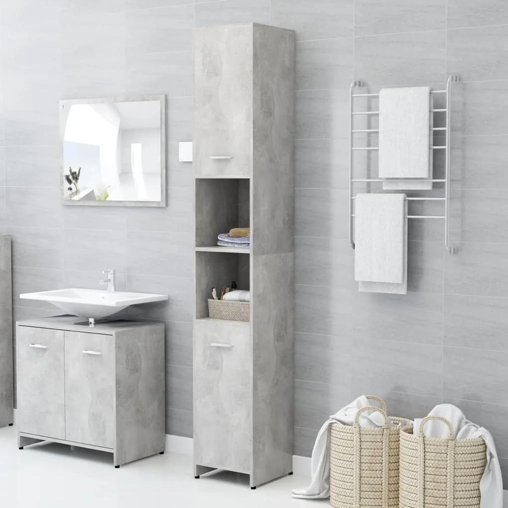 802601 vidaXL Dulap de baie, gri beton, 30 x 30 x 183,5 cm, PAL