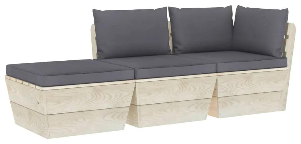 3063420 vidaXL Set mobilier grădină din paleți cu perne, 3 piese, lemn molid
