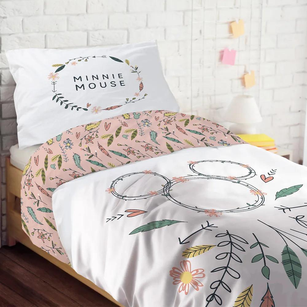 Lenjerie de pat Minnie pentru fetite alb 140x200 cm