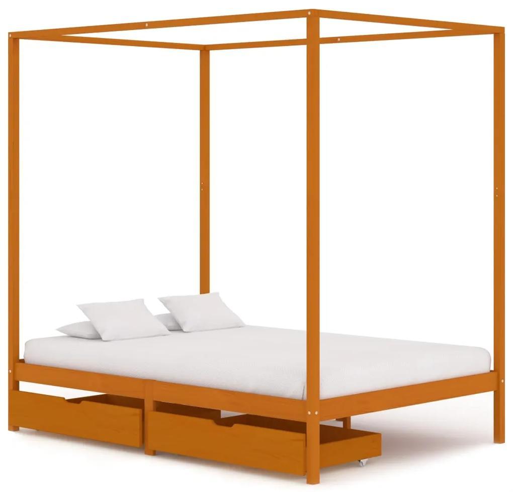 3060540 vidaXL Cadru pat cu baldachin, 2 sertare, 140x200 cm, lemn masiv pin