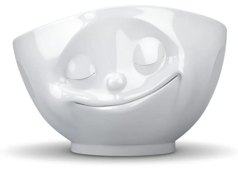 Bol porțelan în formă de față fericită 58products Happy, alb