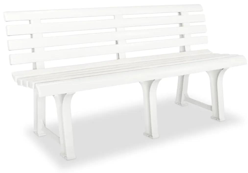 43583 vidaXL Bancă de grădină, alb, 145,5 cm, plastic