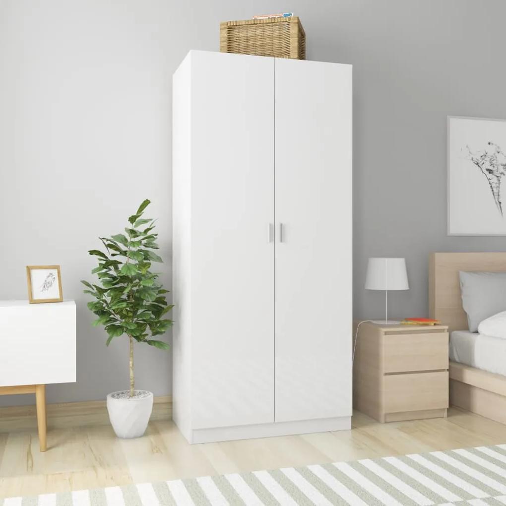800636 vidaXL Șifonier, alb extralucios, 90 x 52 x 200 cm, PAL
