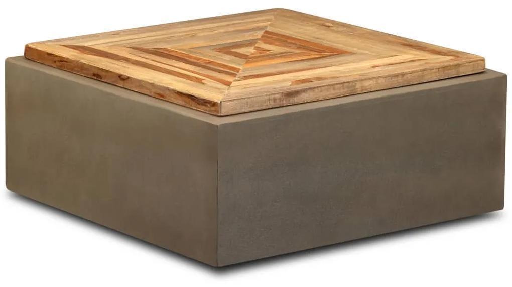 245413 vidaXL Măsuță de cafea, 70x70x30 cm, lemn de tec reciclat și beton