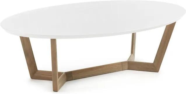 Masa cafea ovala din lemn stejar si MDF alb Surf La Forma