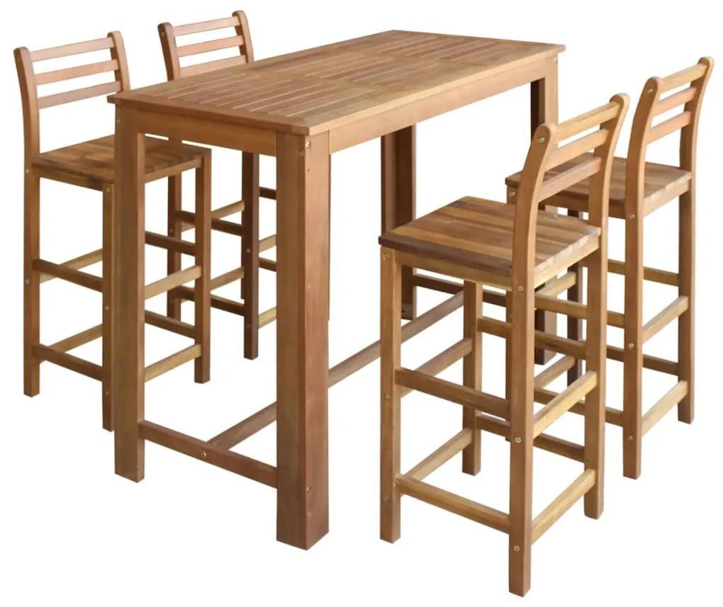 246669 vidaXL Set masă și scaune de bar 5 piese, lemn masiv de acacia