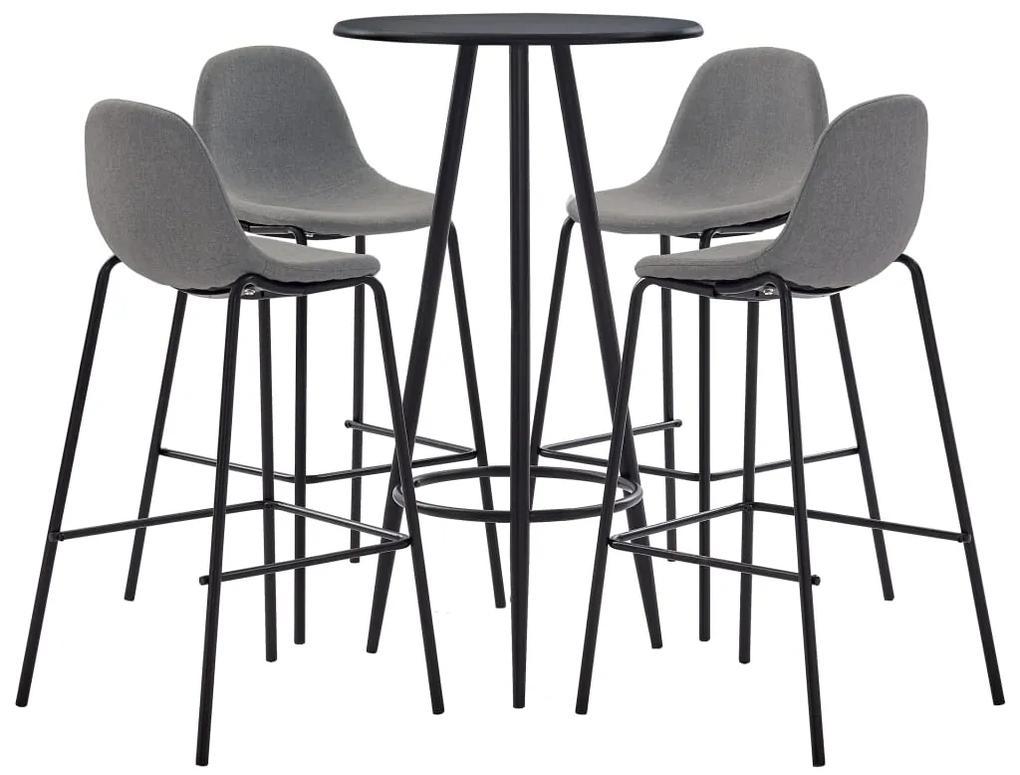 279757 vidaXL Set mobilier de bar, 5 piese, gri taupe, material textil