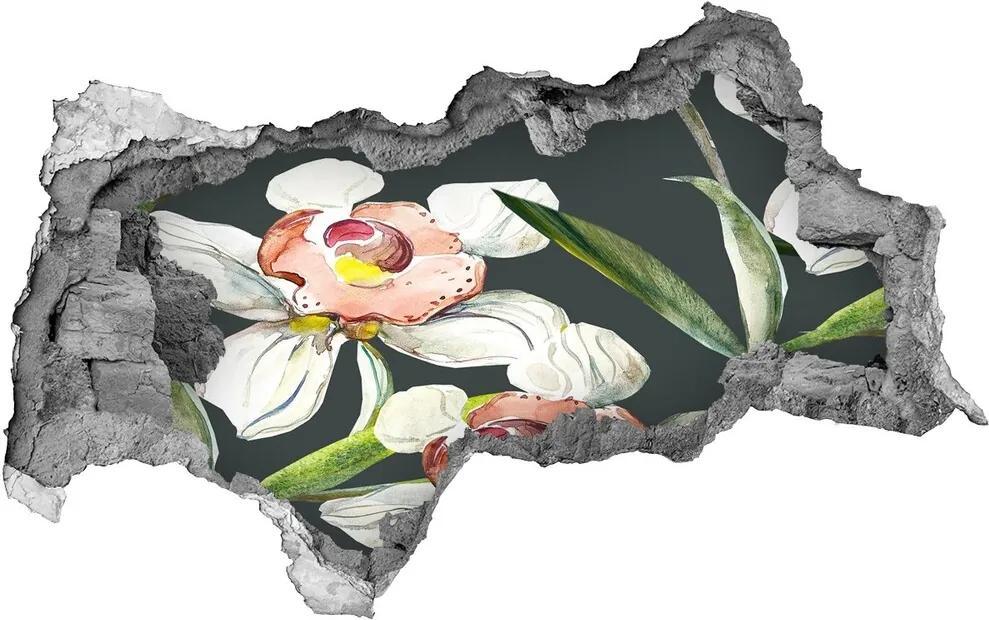 Nálepka diera na stenu betón Kvetinový vzor