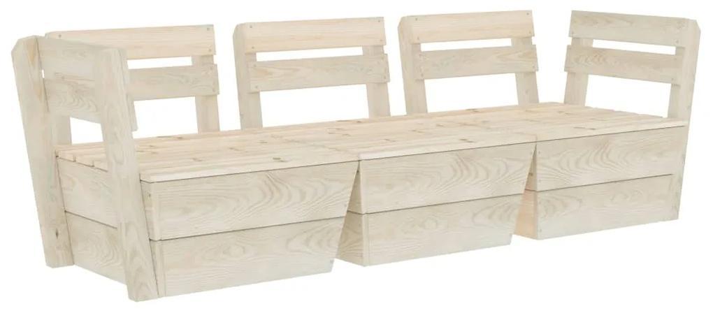 3063709 vidaXL Canapea de grădină din paleți cu 3 locuri lemn de molid tratat