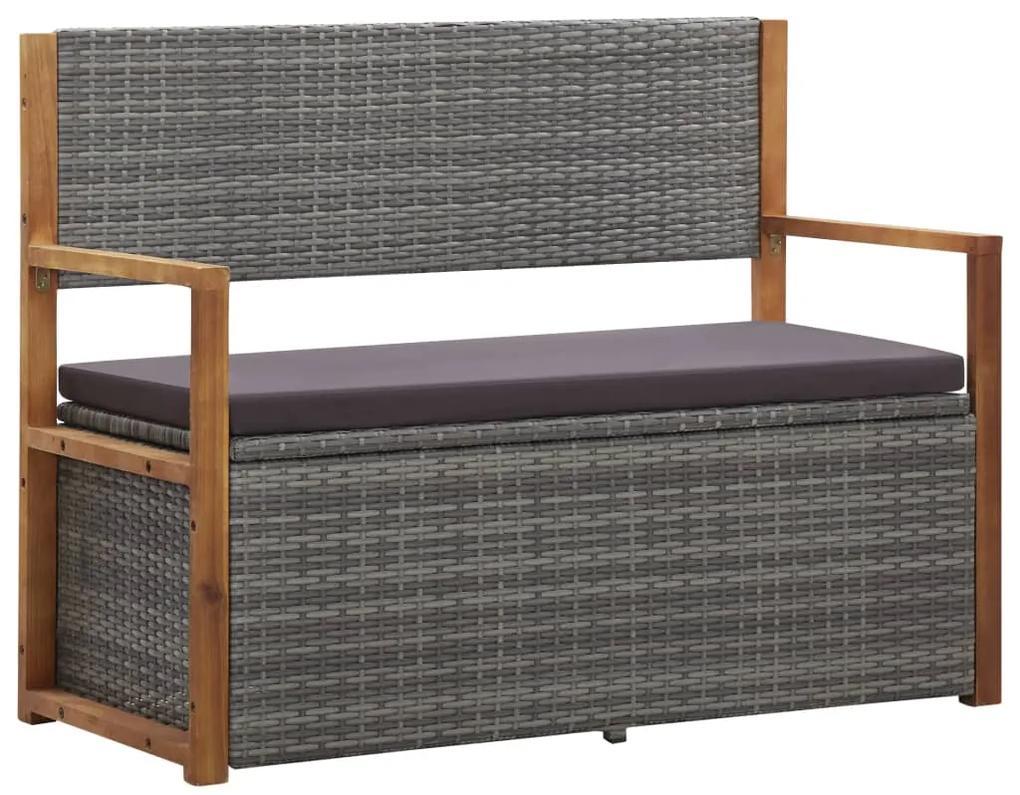 46011 vidaXL Bancă de depozitare, gri, 110 cm, poliratan și lemn de acacia