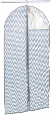 Husa textila pentru haine cu fermoar, Alb / Gri Zig Zag, l60xH120 cm