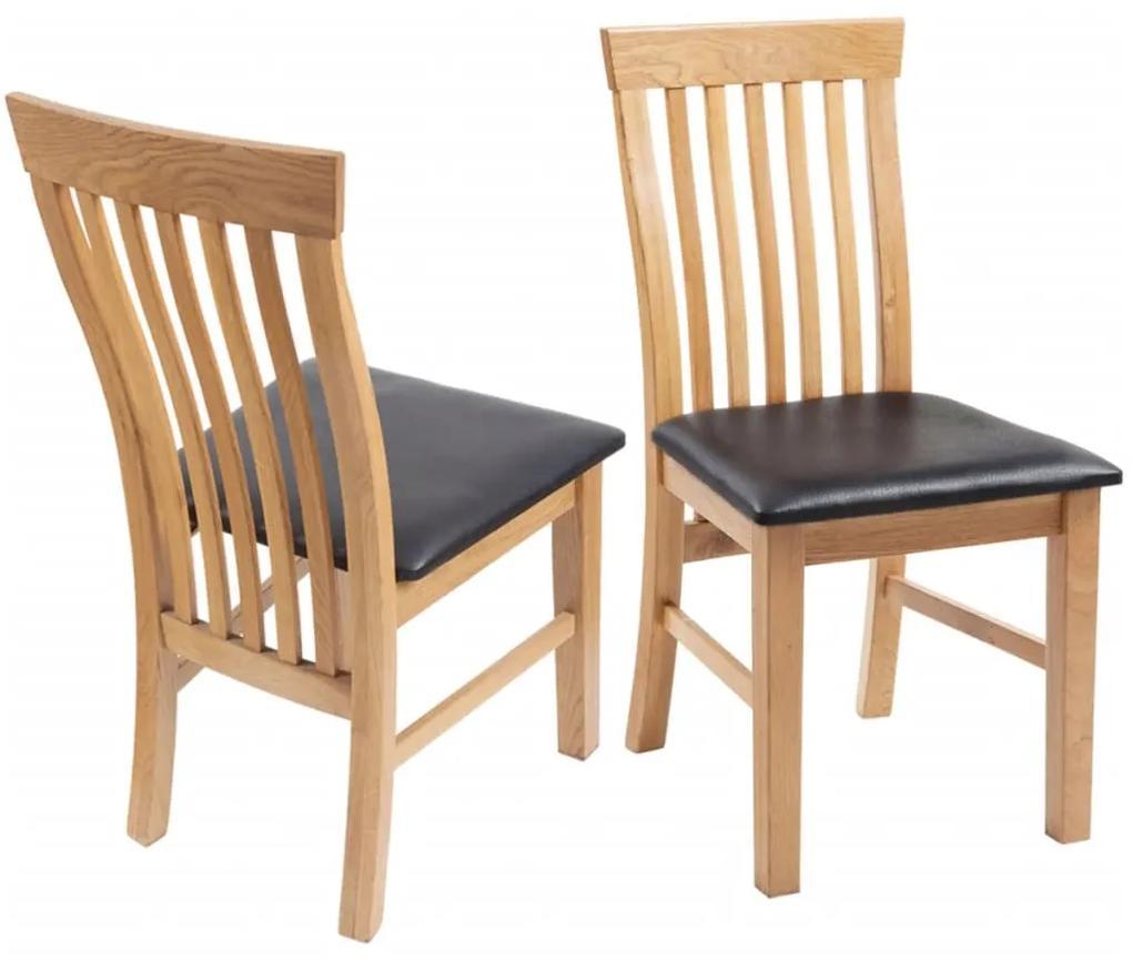243546 vidaXL Scaune de bucătărie 2 buc, lemn masiv stejar & piele ecologică