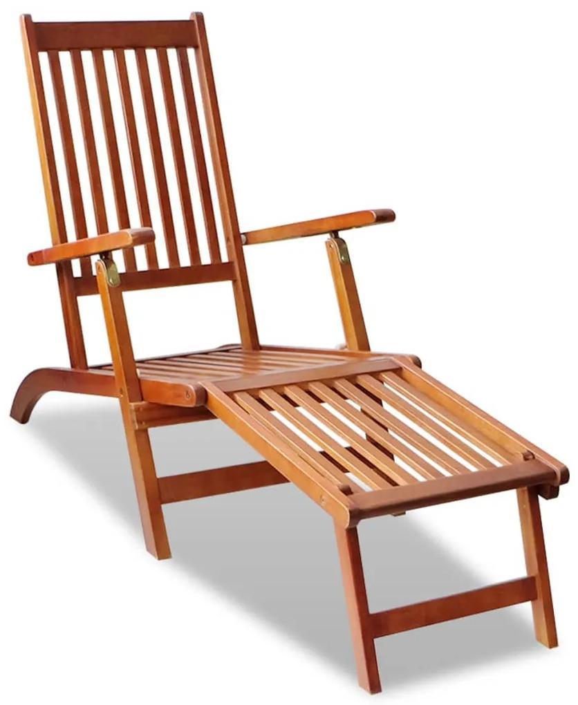 41433 vidaXL Șezlong din lemn de acacia pentru exterior cu suport pentru picioare