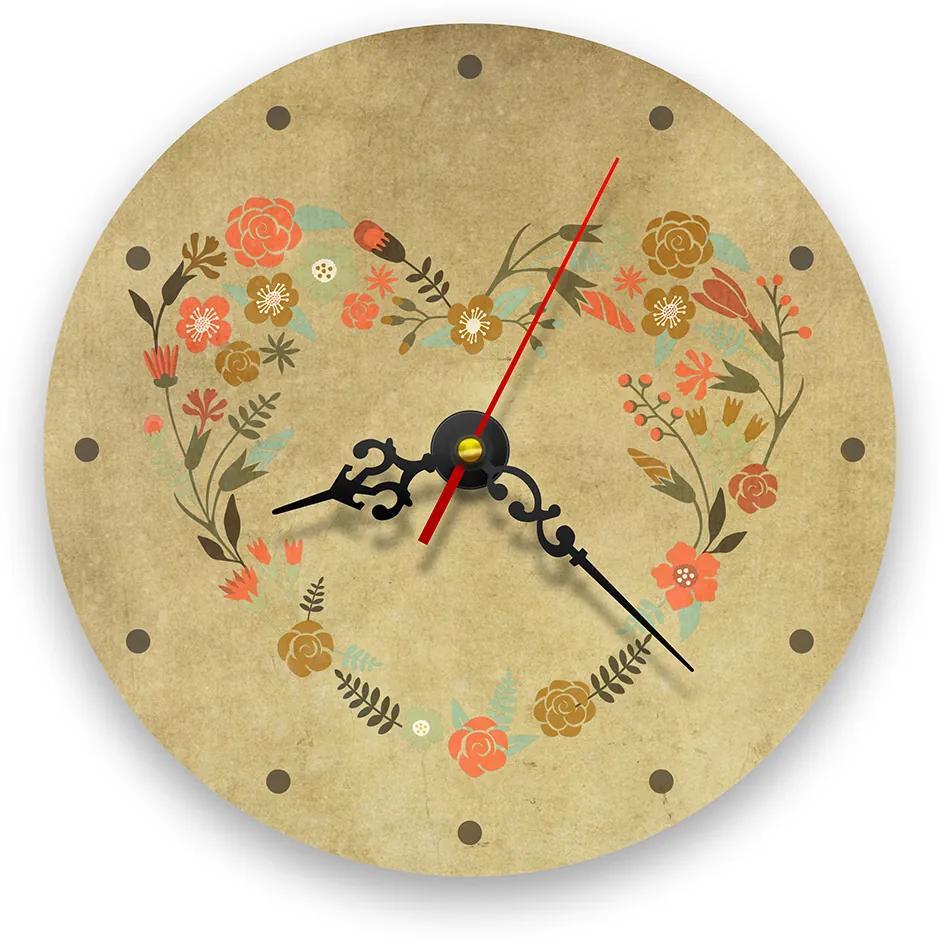 Ceas de perete - Inima din flori retro 21 cm, lemn